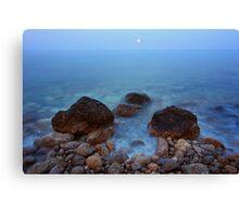 Sunset moon on the sea Canvas Print