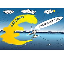 binary options cartoon Here comes the wave Photographic Print