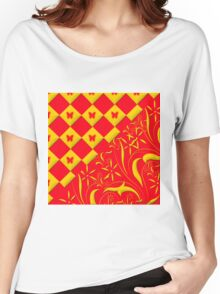 Red and Yellow Butterfly Design Women's Relaxed Fit T-Shirt