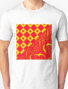 Red and Yellow Butterfly Design T-Shirt
