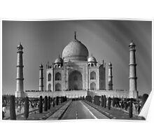 Taj Mahal With a Rainbow in B&W Poster