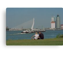 sitting at the Waterside Canvas Print