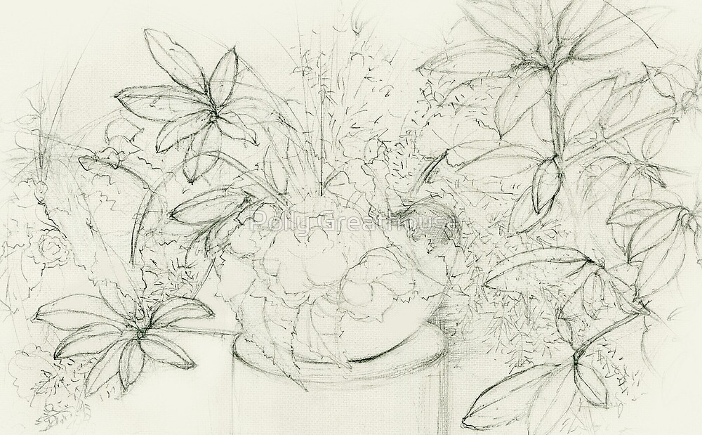 Begonia Among Rhododendron by Polly Greathouse