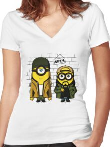 Silent Minion Stuart And Bob Women's Fitted V-Neck T-Shirt