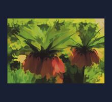 Showy Orange Crown Imperial Flowers - Impressions Of Spring One Piece - Short Sleeve