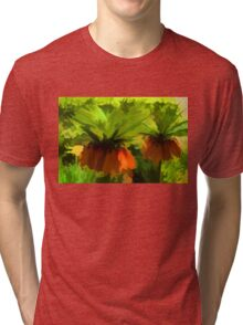Showy Orange Crown Imperial Flowers - Impressions Of Spring Tri-blend T-Shirt