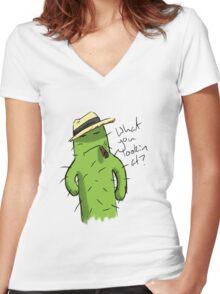 Mafia Boss Cacti Women's Fitted V-Neck T-Shirt