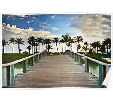 Paradise Beach Tropical Palm Trees Islands Summer Vacation Poster