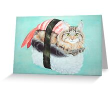 Cat Sushi - Large Greeting Card