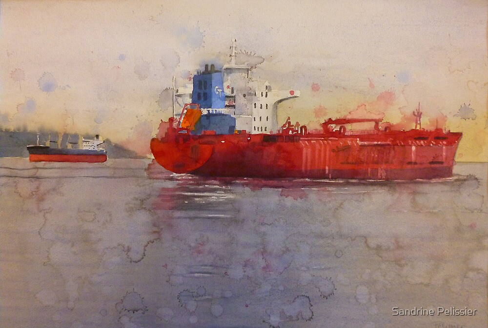 Freighters, watercolor on paper by Sandrine Pelissier