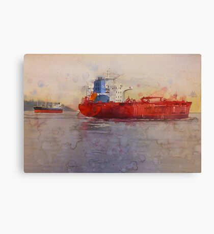 Freighters, watercolor on paper Canvas Print