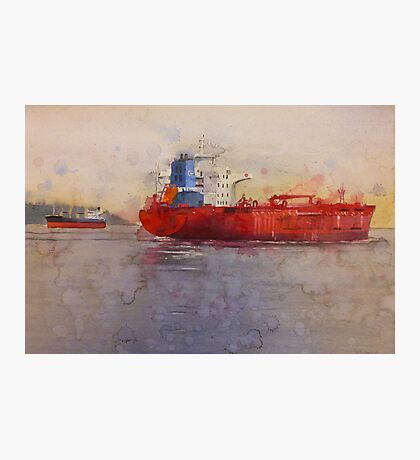Freighters, watercolor on paper Photographic Print