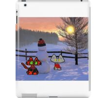 Two Cats Show Of  A Snowman iPad Case/Skin