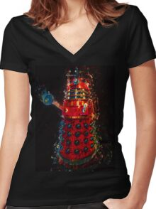 Dalek Fractal Flame, digital painting Women's Fitted V-Neck T-Shirt