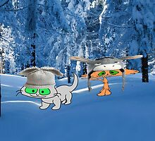 Cat Friends Enjoy The Winter Snow by JohnsCatzz