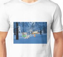 Cat Friends Enjoy The Winter Snow Unisex T-Shirt