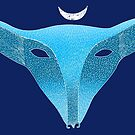 Blue fox mask with moon by SusanSanford