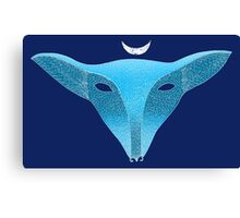 Blue fox mask with moon Canvas Print