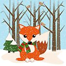 Cute red / green scarf Fox in a snowy forest by walstraasart