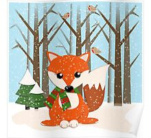Cute red / green scarf Fox in a snowy forest Poster