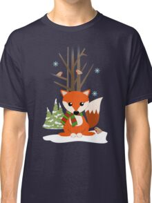 Cute red / green scarf Fox in a snowy forest Classic T-Shirt