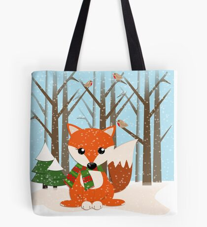 Cute red / green scarf Fox in a snowy forest Tote Bag