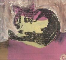 My black and white cat - Henry (mixed media on cardboard) by erincox