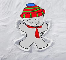 Cat Makes A Snow Angel by JohnsCatzz
