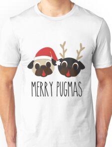 Merry Pugmas Santa & Reindeer Pugs Pattern 2 Unisex T-Shirt
