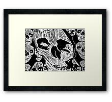 Skulls - Woodcut Framed Print