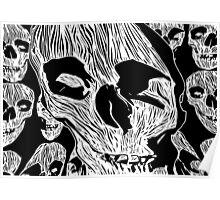 Skulls - Woodcut Poster