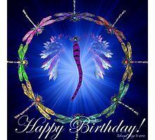 Blue Dragonfly Dance Birthday Design  Photographic Print