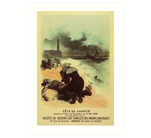 1893 French drowned sailors charity advertising Art Print