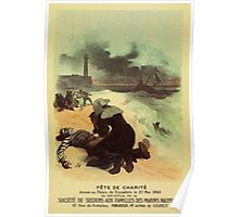 1893 French drowned sailors charity advertising Poster