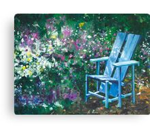 A chair in a garden near by California flowers oil painting  Canvas Print