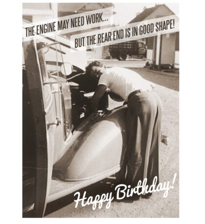 Funny Retro Birthday Card - Vintage Car Sticker