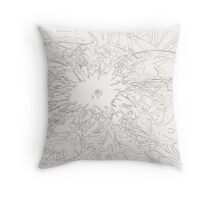 Floral Sketch on pillow Throw Pillow