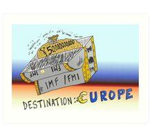 Binary Options Cartoon - 50 Billion Yen for IMF to help the EU Art Print