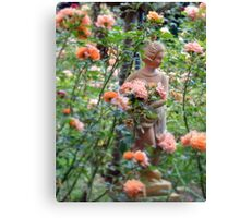 Lady in a rose garden Canvas Print