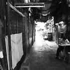 back alley life (black and white) by Karl David Hill