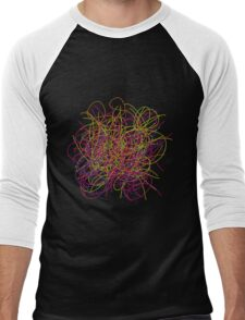 Colorful tangled wires Men's Baseball ¾ T-Shirt
