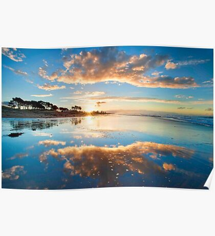 Papamoa Gold Refection Poster