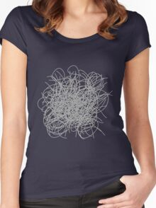 Black and white tangled wires Women's Fitted Scoop T-Shirt