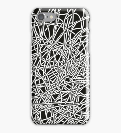 Black and white tangled wires iPhone Case/Skin