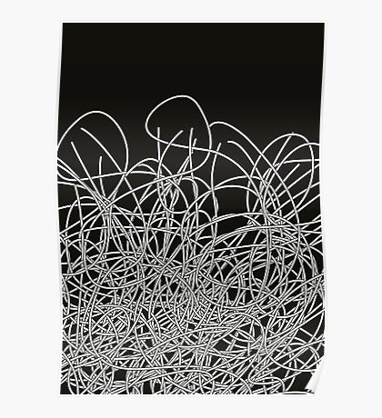 Black and white tangled wires Poster
