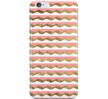 Pink, White, & Faux Gold Zigzag Stripes iPhone Case/Skin