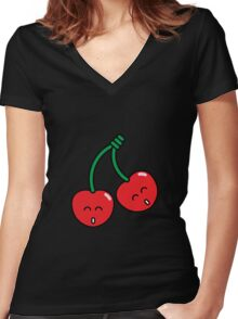 Cherry Twins Women's Fitted V-Neck T-Shirt