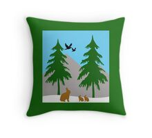 Winter scene with snow, bunnies, trees, and birds Throw Pillow