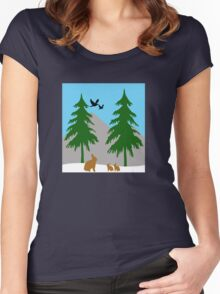 Winter scene with snow, bunnies, trees, and birds Women's Fitted Scoop T-Shirt