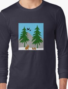 Winter scene with snow, bunnies, trees, and birds Long Sleeve T-Shirt
